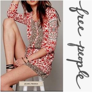 FREE PEOPLE RED TAN & WHITE FLORAL ROMPER